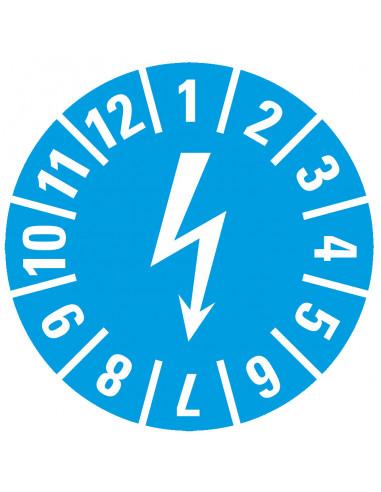 \'Elektrische keuringen\' keuringssticker Ø15,  lichtblauw, 60/kaart