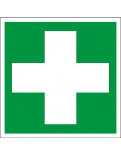 EHBO sticker, ISO 7010, E003, groen wit, symbool EHBO, wit kruis, vierkant