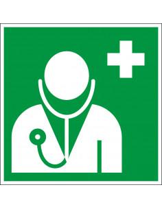 Arts sticker, ISO 7010, E009, groen wit, pictogram dokter, vierkant