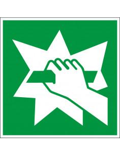 Glas breken sticker, ISO 7010, E008, vierkant, groen wit, glas breken pictogram