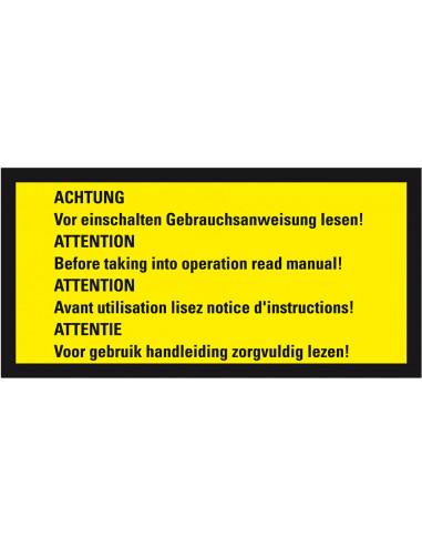 Waarschuwingssticker handleiding lezen in vier talen