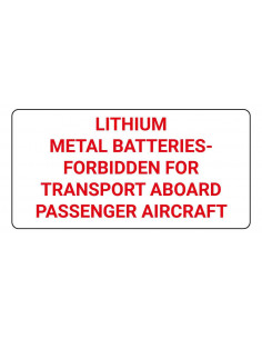 Sticker 'Lithium-Metal batteries forbidden' verpakkingsetiket