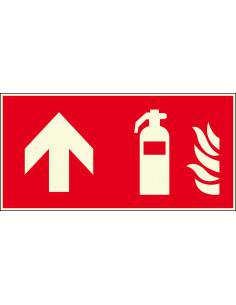 Lichtgevend brandblusser bord rechtdoor, 300 x 150 mm, F001, rood wit, pictogram brandblusser met pijl rechtdoor, rechthoek