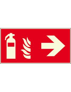 Lichtgevend brandblusser bord rechts, 300 x 150 mm, F001, rood wit, pictogram brandblusser met pijl rechts, rechthoek