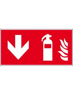 Brandblusser bord beneden, 300 x 150 mm, F001, rood wit, pictogram brandblusser met pijl naar beneden, rechthoek