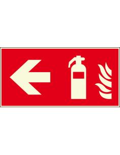 Lichtgevend brandblusser bord links, 300 x 150 mm, F001, rood wit, pictogram brandblusser met pijl links, rechthoek