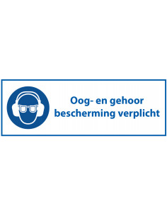 Tekststicker 'Oog- en gehoorbescherming verplicht' 180 x 60 mm, ISO 7010