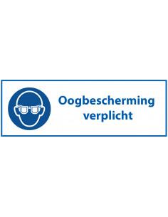 Oogbescherming verplicht tekststicker, blauw wit, rechthoek, Nederlandse tekst