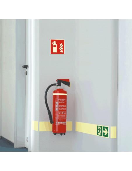 Brandblusser bord, kunststof, F001, rood wit, pictogram brandblusser, vierkant