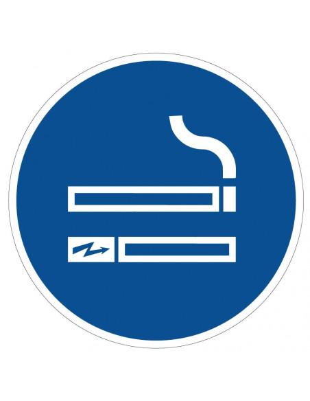 pictogram e-sigaretten en roken toegestaan, blauw wit, rond