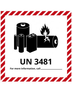 Sticker 'Lithium-Ion UN3481' op rol, 150 x 150 mm