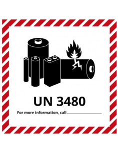 Sticker 'Lithium-Ion UN3480' op rol, 150 x 150 mm