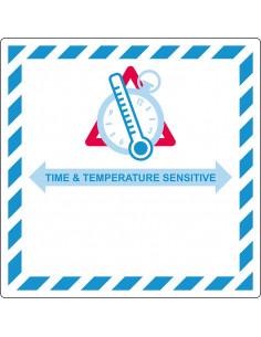 Verpakkingetiket 'Time & temperature sensitive' papier