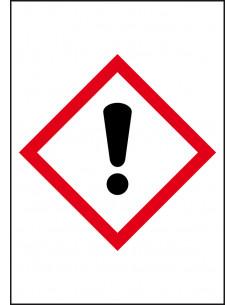 GHS07 irriterende stoffen leidingmarkering op rol, rechthoek, wit vlak rode ruit met pictogram