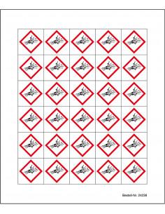 Minisymbool GHS01 'ontplofbare stoffen' sticker, CLP etiket, vierkant ruit, ontploffing, rood wit
