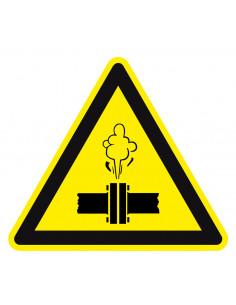 Waarschuwingssticker stoom onder druk, geel zwart, stoom onder druk symbool, driehoek