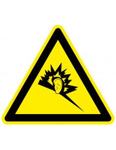 Waarschuwingssticker geluidsoverlast, geel zwart, geluidsoverlast symbool, driehoek
