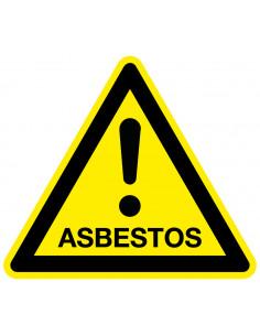 Waarschuwingssticker asbestos, geel zwart, tekst gevaar asbestos, driehoek