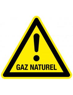 Waarschuwingssticker GAZ naturel, geel zwart, met tekst, driehoek