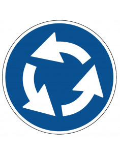 pictogram rotonde, blauw wit, rond