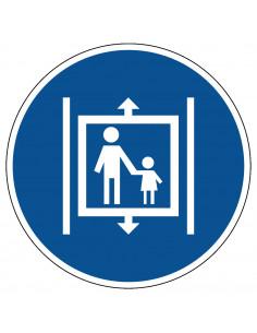 pictogram kinderen in lift begeleiden, blauw wit, rond