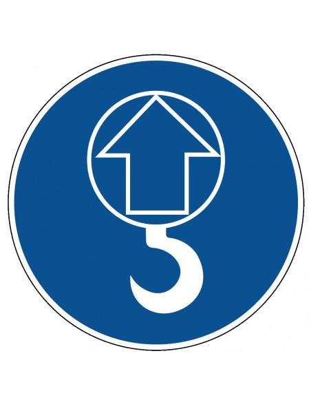 pictogram lasthaak verplicht, blauw wit, rond
