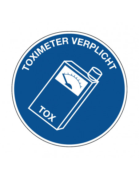 pictogram toximeter, blauw wit, rond