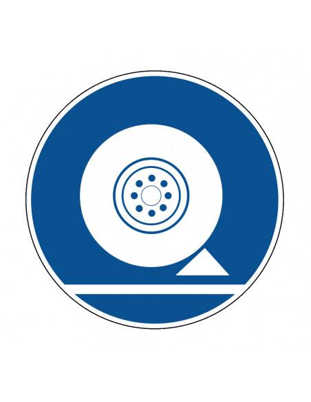 pictogram remblokken verplicht, blauw wit, rond