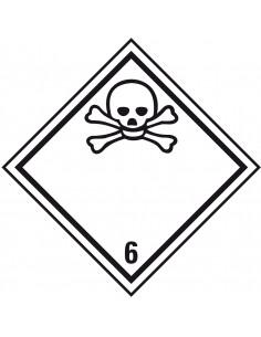 ADR klasse 6.1 giftig bord, kunststof, wit zwart, pictogram giftig, ruit