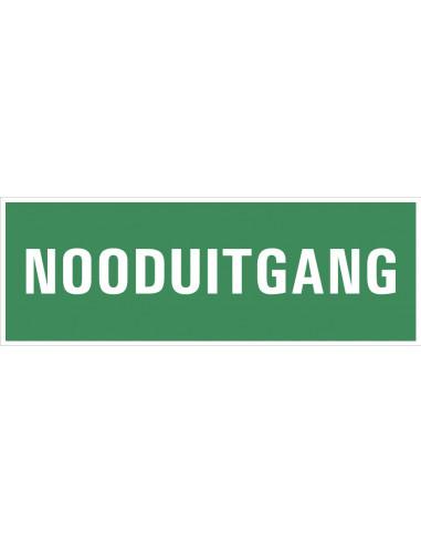 Bord met tekst 'Nooduitgang', 300 x 100 mm