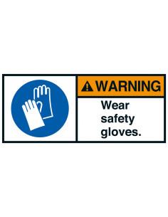 Sticker 'Warning Wear safety gloves' ANSI