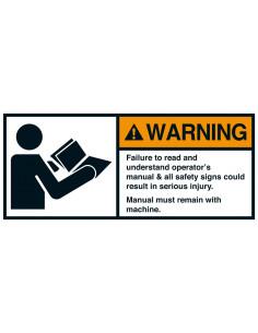 Sticker 'Warning Failure to read operators manual' ANSI