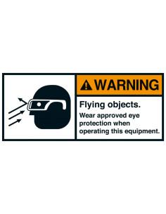 Sticker 'Warning Flying objects eye protection' ANSI