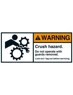 Sticker 'Warning Crush hazard arm' ANSI