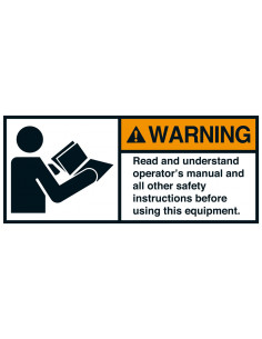 Sticker 'Warning Read operators instructions' ANSI