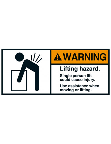 Sticker 'Warning Lifting hazard' ANSI