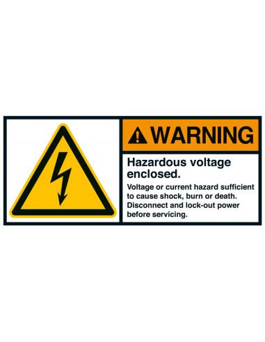 Sticker 'Warning Hazardous voltage enclosed ' ANSI