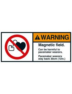 Sticker 'Warning Magnetic field stay back' ANSI
