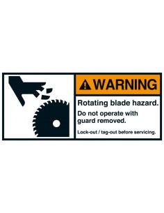 Sticker 'Warning Rotating blade hazard' ANSI