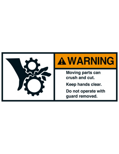 Sticker 'Warning Moving parts can crush' ANSI