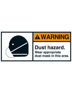 Sticker 'Warning Dust hazard' ANSI