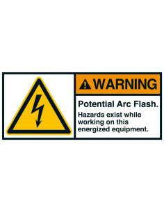 Sticker 'Warning Potential arc flash' ANSI