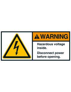 Sticker 'Warning Hazardous voltage insde' ANSI