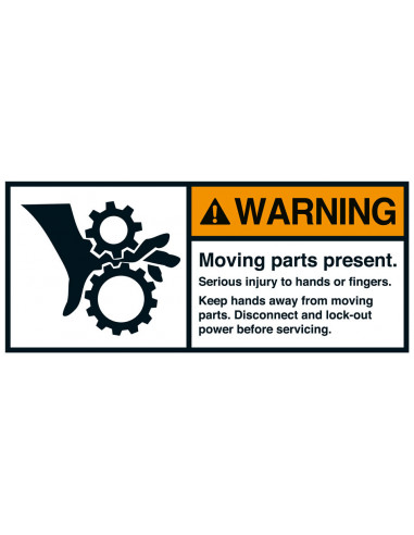 Sticker 'Warning Moving parts present' ANSI