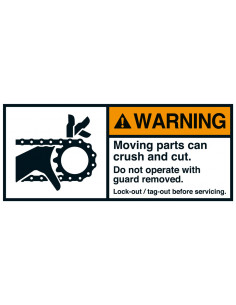 Sticker 'Warning Moving parts lock-out/tag-out' ANSI