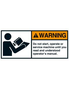 Sticker 'Warning Read operators manual' ANSI