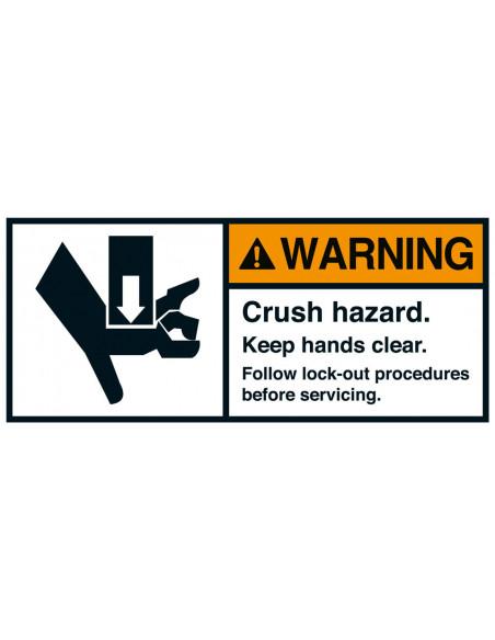Sticker 'Warning Crush hazard' vertical ANSI