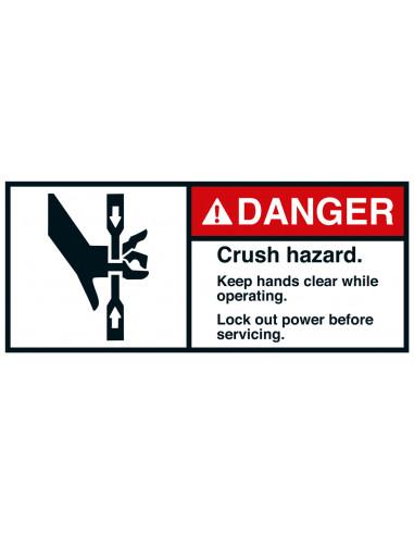 Sticker 'Danger Crush hazard lock-out power' ANSI