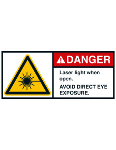 Sticker 'Danger Laser light when open' ANSI