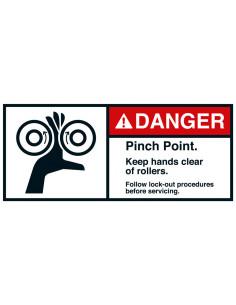 Sticker 'Danger Pinch point rollers' ANSI